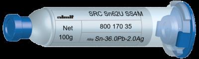 SRC Sn62U SS4M  Flux 15%  30cc, 100g, Kartusche/ Syringe