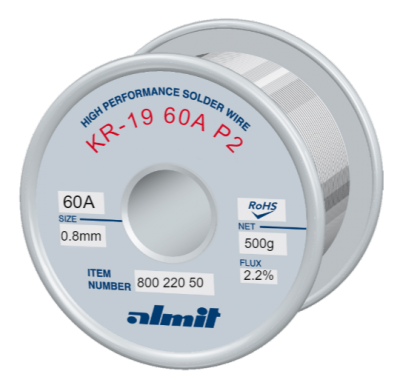 KR-19 60A P2  Flux 2,2%  0,8mm  0,5kg Spule/ Reel