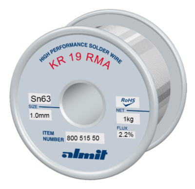 KR 19 RMA Sn63Pb37 P2  Flux 2,2%, 1,0mm  1,0Kg Spule/ Reel