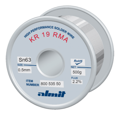 KR 19 RMA Sn63Pb37 P2  Flux 2,2%  0,5mm  0,5Kg Spule/ Reel