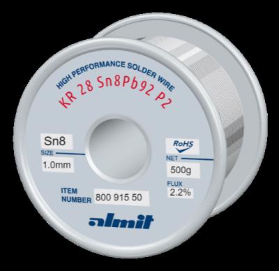 KR 28 Sn8Pb92 P2  Flux 2,2%  1,0mm  0,5kg Spule/ Reel