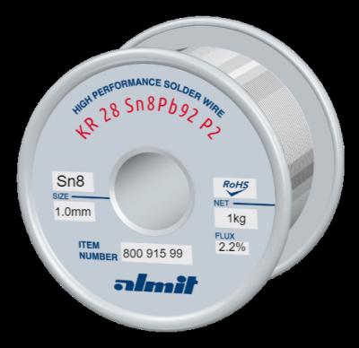 KR 28 Sn8Pb92 P2  Flux 2,2%  1,0mm  1,0kg Spule/ Reel