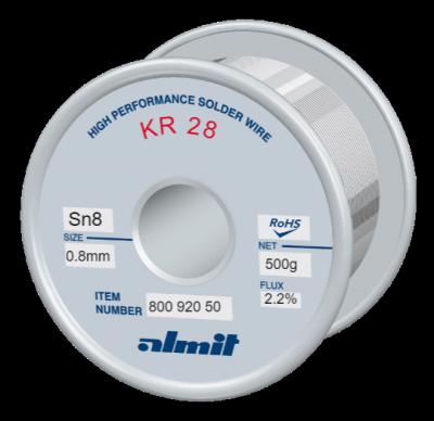 KR 28 Sn8Pb92 P2  Flux 2,2%  0,8mm  0,5kg Spule/ Reel