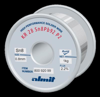 KR 28 Sn8Pb92 P2  Flux 2,2%  0,8mm  1,0kg Spule/ Reel