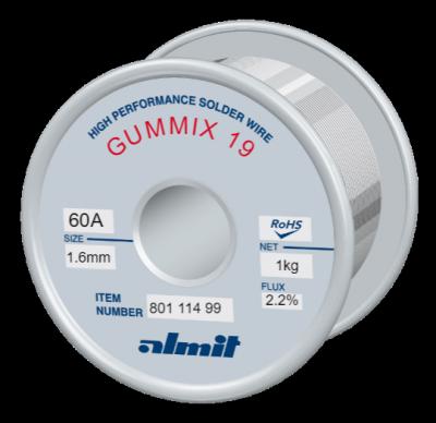 GUMMIX 19 Sn60Pb40 P2  Flux 2,2%  1,6mm  1,0kg Spule/ Reel