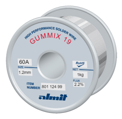 GUMMIX 19 Sn60Pb40 P2  Flux 2,2%  1,2mm  1,0kg Spule/ Reel