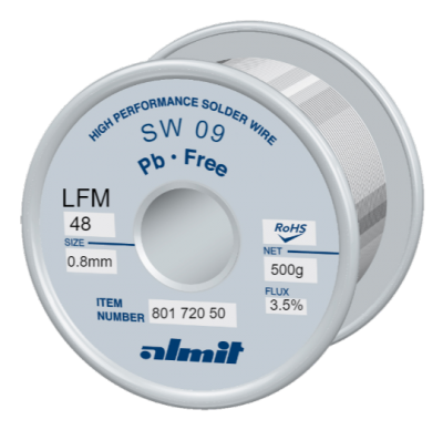 SW 09 LFM 48 Flux 3,5%  0,8mm  0,5kg Spule/ Reel