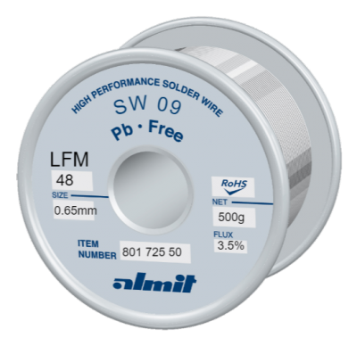 SW 09 LFM 48 Flux 3,5%  0,65mm  0,5kg Spule/ Reel