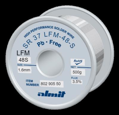Leadfree solder wire, SR 37 LFM-48S, Sn-3,0Ag-0,5Cu, 217° - 221°C, Flux 3,5%, REM1(Anti Tip Wastage Type) 1,6mm  0,5kg Spule/ Reel