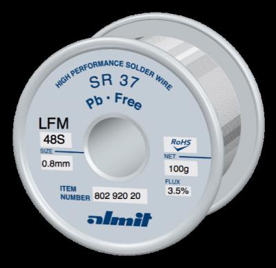 Leadfree solder wire, SR 37 LFM-48S, Sn-3,0Ag-0,5Cu, 217° - 221°C, Flux 3,5%, REM1(Anti Tip Wastage Type) 0,8mm  0,1kg Spule/ Reel