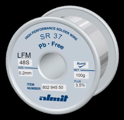 Leadfree solder wire, SR 37 LFM-48S, Sn-3,0Ag-0,5Cu, 217° - 221°C, Flux 3,5%, REM1(Anti Tip Wastage Type) 0,2mm  0,1kg Spule/ Reel