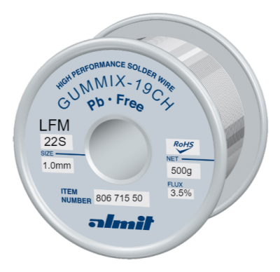 GUMMIX-19CH LFM-22S  Flux 3,5%  1,0mm  0,5kg Spule / Reel