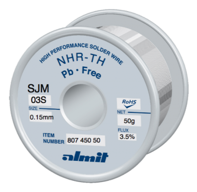 NHR-TH SJM-03-S 3,5%  Flux 3,5%  0,15mm  0,05kg Spule/ Reel